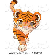 Vector of Playful Tiger Cub Walking by Pushkin