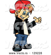 Vector of Please Little Boy in a Red Hat, Giving the Thumbs up by Dennis Holmes Designs
