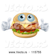 Vector of Pleased Cheeseburger Holding Two Thumbs up by AtStockIllustration