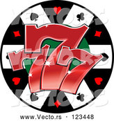 Vector of Poker Chip with Three Lucky Number Sevens by Vector Tradition SM