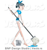 Vector of Pretty Girl Mopping a Floor by BNP Design Studio