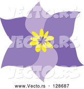 Vector of Pretty Six Petal Purple Flower with a Yellow Center by