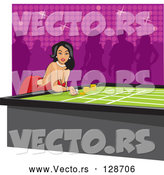 Vector of Pretty Young Hispanic Lady Bending over a Table and Gambling in a Casino by David Rey