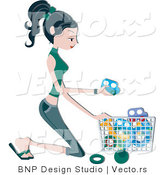 Vector of Pretty Young Mom Putting Toys in a Basket by BNP Design Studio