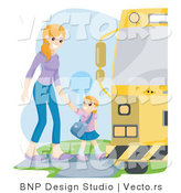Vector of Proud Mother Walking Her Daughter to a School Bus by BNP Design Studio