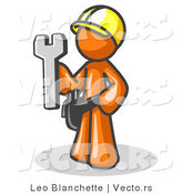 Vector of Proud Orange Construction Worker Guy in a Hardhat, Holding a Wrench by Leo Blanchette