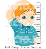 Vector of Proud Young Boy Measuring His Height by BNP Design Studio
