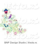 Vector of Purple and Blue Birds Resting on Vines Beside a Bird House by BNP Design Studio