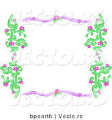 Vector of Purple and Green Border Frame with Vines and Flowers by Bpearth