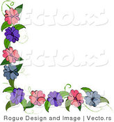 Vector of Purple, Blue and Pink Flowers on Corner Vine Design Element by Pams Clipart