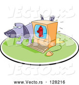 Vector of Purple Dog Taking a Leak on a Computer by Jtoons