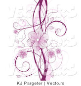 Vector of Purple Floral Vines with Blossoms and Tendrils over White Background Design by KJ Pargeter