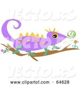 Vector of Purple Lizard Walking on a Branch by Bpearth