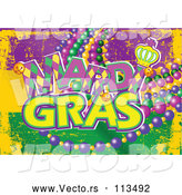 Vector of Purple Yellow and Green Mardi Gras Flag Background with Text and Beads by Pushkin