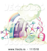 Vector of Rainbow, Clouds, DNA Strand, and Science Equipment Books by BNP Design Studio