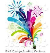 Vector of Rainbow Colored Fireworks Shooting from a Glass Bottle by BNP Design Studio