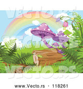 Vector of Rainbow over Mushrooms Ferns and a Log in a Fantasy Forest by Pushkin