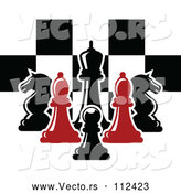 Vector of Red and Black Chess Pieces Against a Checker Board by Vector Tradition SM