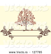 Vector of Red and Brown Apple Tree on a Floral Text Box over Beige by Randomway