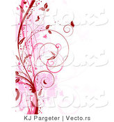 Vector of Red and Pink Floral Grunge Vines with Butterflies - Digital Web Background Border by KJ Pargeter