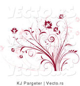 Vector of Red and Pink Floral Vines - Digital Background Design Element by KJ Pargeter