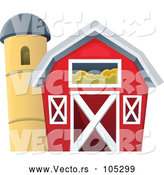 Vector of Red Barn Beside Silo by Visekart