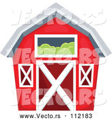 Vector of Red Barn with a Hay Loft by Visekart