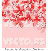 Vector of Red Floral Vines with Blank Pink Copyspace by Vector Tradition SM