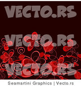 Vector of Red Flowers over Darkend Background Design by Vector Tradition SM