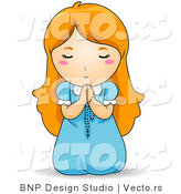 Vector of Red Haired Baby Girl on Her Knees, Praying to God with Rosary by BNP Design Studio