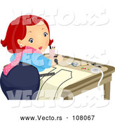 Vector of Red Haired Lady Looking Back While Creating a Sewing Pattern by BNP Design Studio