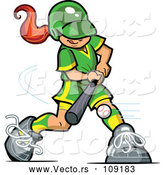 Vector of Red Haired White Baseball Player Girl Batting by Clip Art Mascots