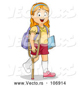 Vector of Red Haired White School Girl Walking with a Crutch by BNP Design Studio