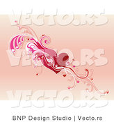 Vector of Red Heart with Pink Leafy Vines and Tiny Love Hearts by BNP Design Studio