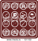 Vector of Red Medical Icons Collage: Dna, Molecules, Hospital Signs, Pills, Syringes, First Aid KChildren, Rx, Doctor Bag, Glasses, Stethoscopes, Thermometers, and Microscopes by AtStockIllustration