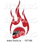 Vector of Red Racing Helmet and Flames by Vector Tradition SM