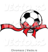 Vector of Red Ribbon and Bow Around Soccer Ball Present by Chromaco