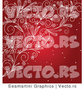 Vector of Red Snow with Floral Vines Background by Vector Tradition SM