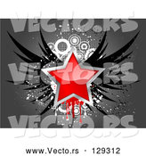 Vector of Red Star Bordered in Chrome, with Black Wings, over a Grungy Gray and White Background by KJ Pargeter