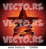 Vector of Red Star Ornament and Banner over a Burst by Elaineitalia