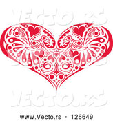 Vector of Red Victorian Heart Design by Andy Nortnik