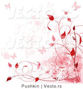 Vector of Red Vines, Butterflies Background Border Design by Pushkin