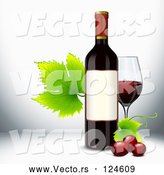 Vector of Red Wine Bottle with Grapevine Leaves and a Glass by Oligo