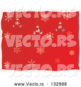 Vector of Reindeer and Snowflake Christmas Ornaments over a Red Snowflake Background by Rasmussen Images