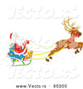 Vector of Reindeer Flying Santa in His Sleigh by Alex Bannykh