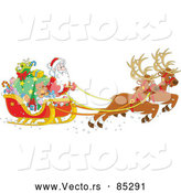 Vector of Reindeer Pulling Santa and Sleigh Filled with Gifts by Alex Bannykh