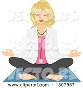 Vector of Relaxed Blond White Female Doctor Doing Yoga and Meditating by BNP Design Studio