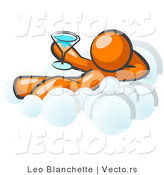 Vector of Relaxed Orange Guy Drinking a Martini and Kicking Back on Cloud Nine by Leo Blanchette