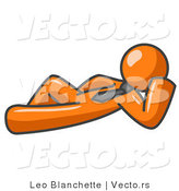 Vector of Relaxed Orange Guy Reclining by Leo Blanchette