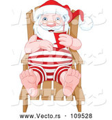 Vector of Relaxed Santa Sitting in a Beach Chair and Holding a Beverage While Sun Bathing by Pushkin